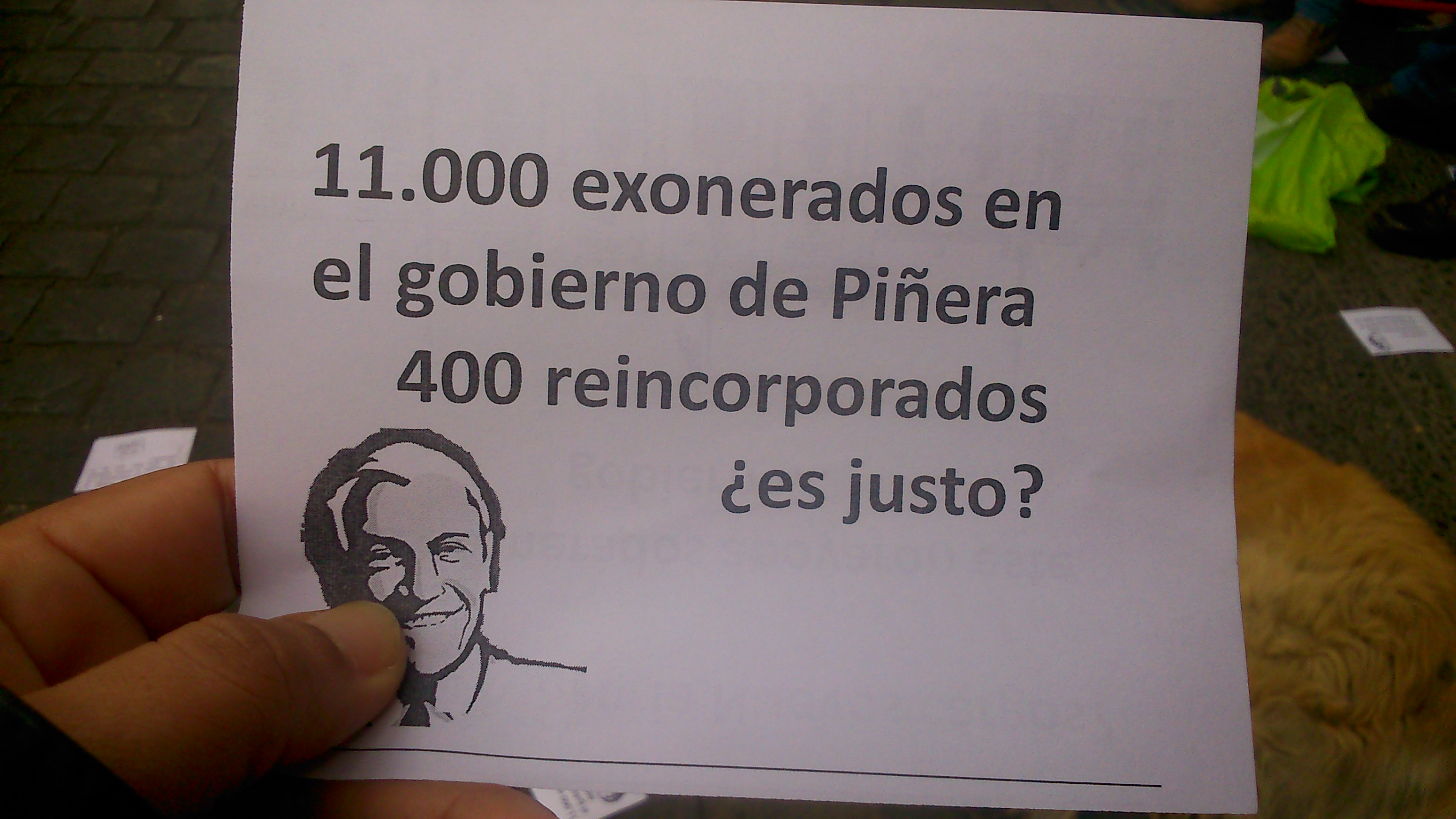 Manifestación los Exonerados políticos por  Piñera